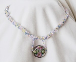 pastel lampwork bead necklace head