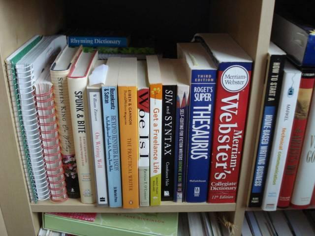 Writing books, Mary Warner's home library, November 2014.