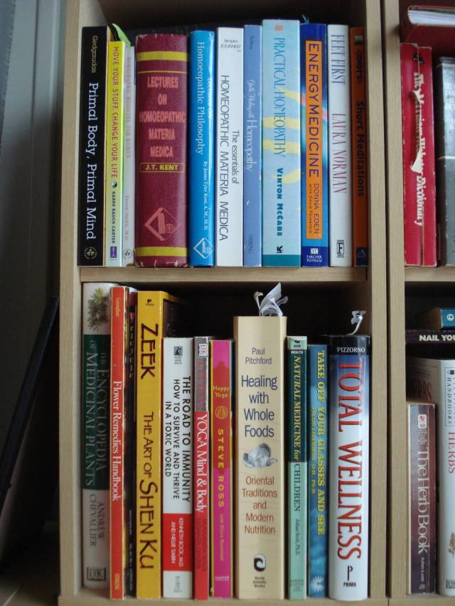 Natural health care books, Mary Warner's home library, November 2014.