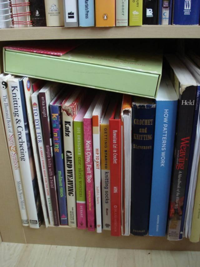 Fiber arts books, Mary Warner's home library, November 2014.