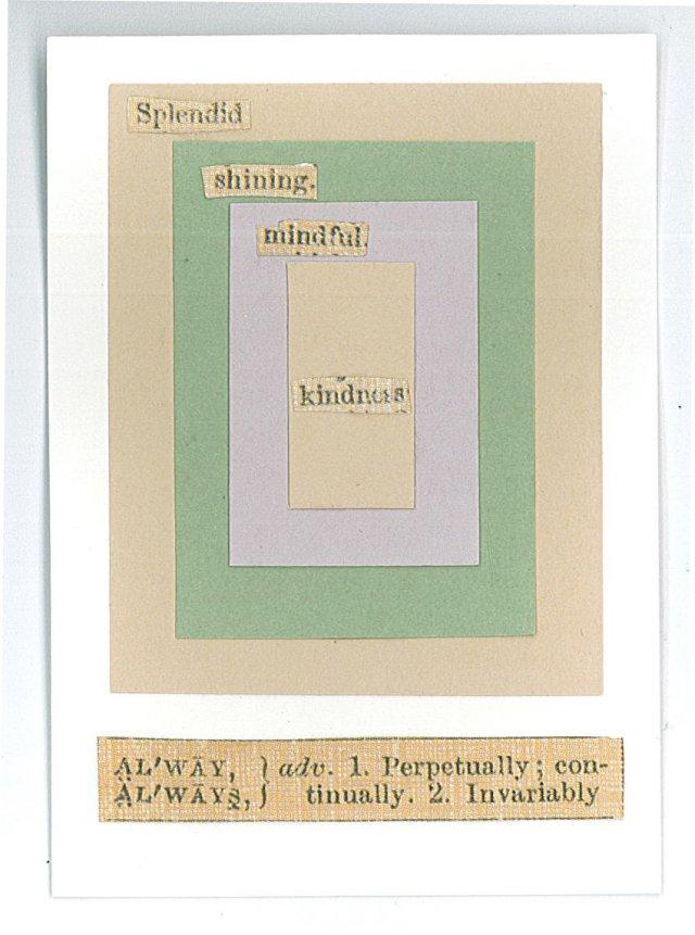 Artist trading card, cut paper, Mary Warner.