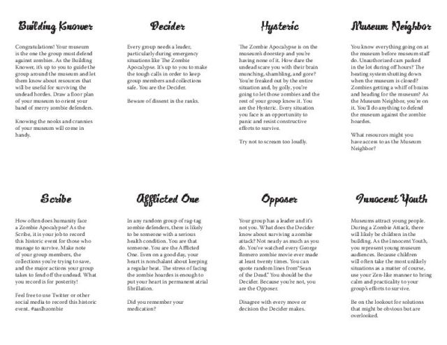 Zombie Attack Role Cards, made for museum disaster planning session at AASLH annual conference, 2014.