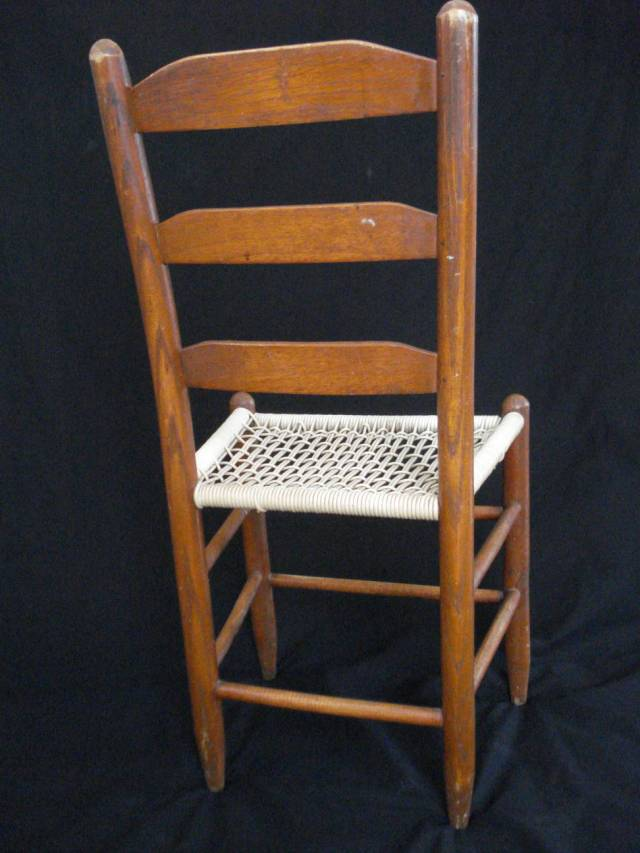 Ladder-back chair, looking at the back, photo by Mary Warner, February 2015.