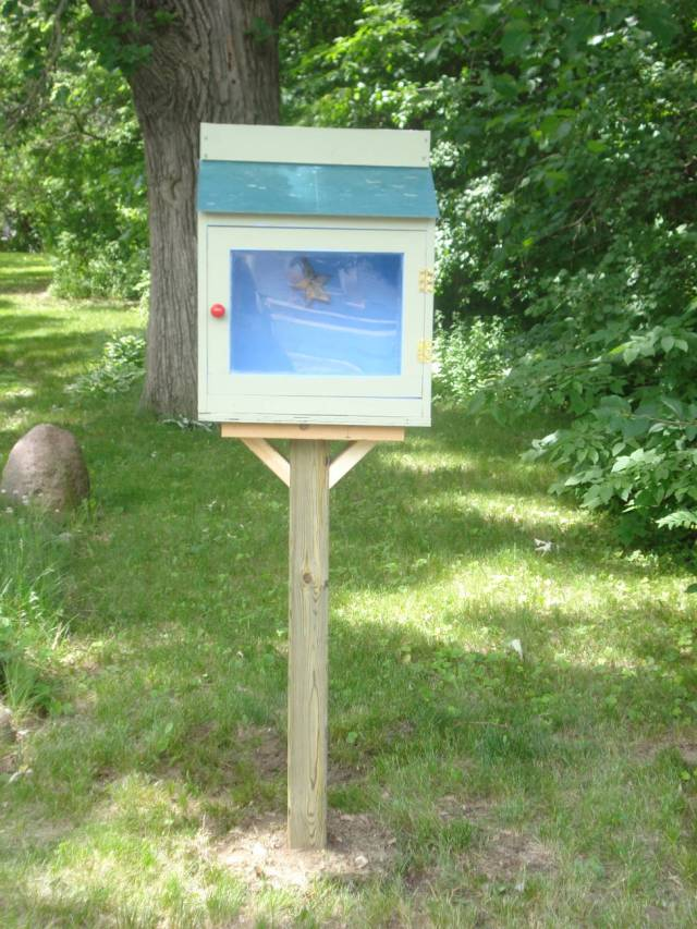 Our Little Free Library, installed June 10, 2016. Photo by Mary Warner.