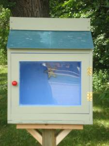 Close-up of our Little Free Library, installed June 10, 2016. Photo by Mary Warner.