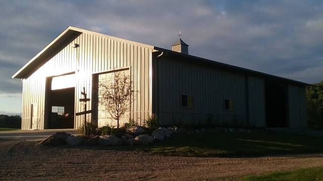 The large shed in which Olivia & Eric's wedding reception was held. September 6, 2016.