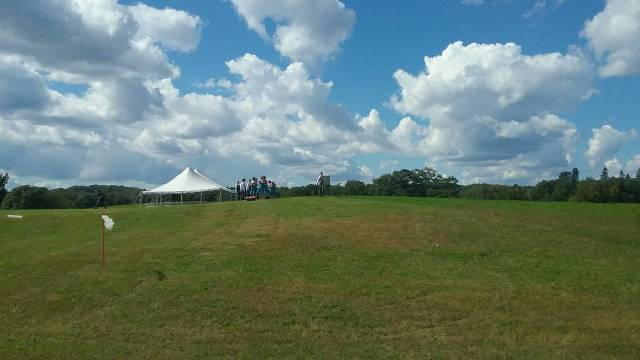The wedding tent on the central Minnesota farm where Liv and Eric's wedding took place. Note how beautiful the day is. September 10, 2016.