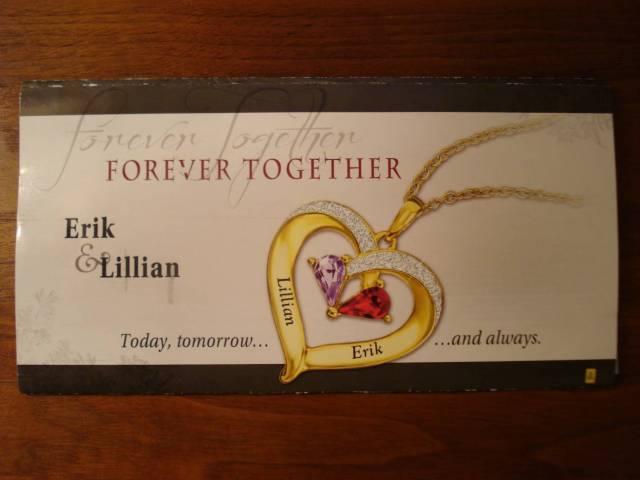 """""""Forever Together - Erik & Lillian"""" - advertising mailer, October 2016."""