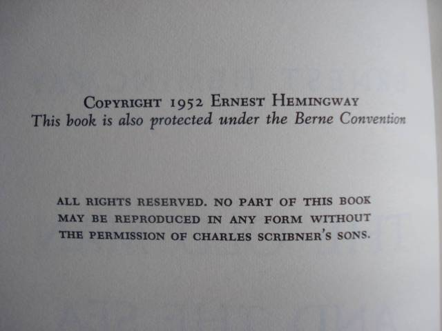 """Copyright page, """"The Old Man and the Sea"""" by Ernest Hemingway, 1952. Photo by Mary Warner."""