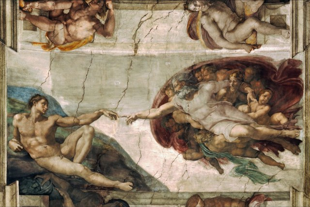 """Michelangelo's """"Creation of Adam,"""" fresco from the ceiling of the Sistine Chapel, painted c. 1508-1512. Image source: https://upload.wikimedia.org/wikipedia/commons/0/0c/Creation_of_Adam_Michelangelo.jpg"""