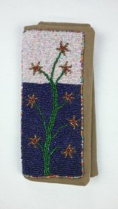 Bead applique needle case, front, by Mary Warner, 2017.