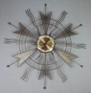 Mid-century abstract metal sun clock, 2018.