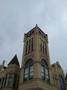 Morrison County Courthouse clock tower, Little Falls, MN, 2018.