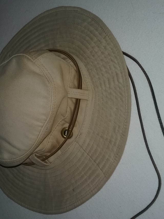 My trusty, tan, wide-brimmed hat, 2018.