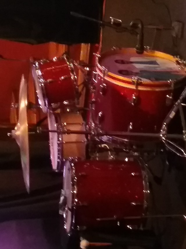 Drum kit for the band Pussytoes, August 3, 2018.