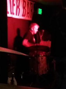 Bob Huebner, drummer for The Nothingheads, at a show at the Keller Bar in St. Cloud, MN, August 3, 2018. Bob has more stamina than the Energizer Bunny in keeping time on the drums.