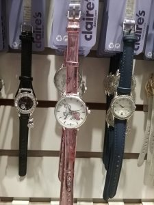 """Unicorn wristwatch at Claire's accessory store in Crossroads Mall, St. Cloud, MN, 2018. While I was snapping this pic, I heard a girl of about 7 or 8 loudly exclaim, """"I don't know what I'd do without Claire's!"""" That's the kind of enthusiasm for history we want to cultivate in children."""