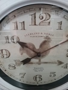 Clock with rooster, because I don't have one with a chicken or eggs, 2018.