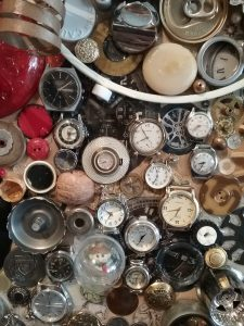 """Detail of """"Round About Collage"""" by Bev Gold on display at Great River Arts, Little Falls, MN, 2018."""