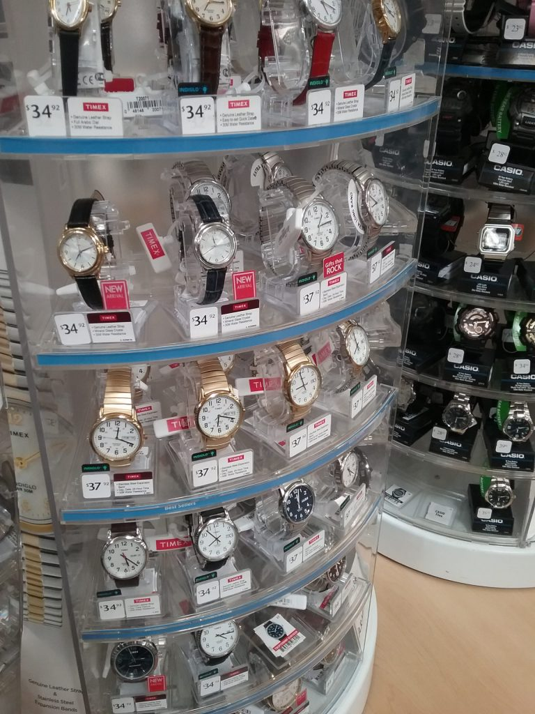 Carousel of wristwatches in a store, 2018.