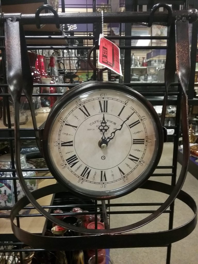 Clock with metal frame, 2018.