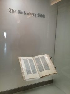 The Gutenberg Bible on display at the Library of Congress, Thomas Jefferson Building, Washington DC, 2019.