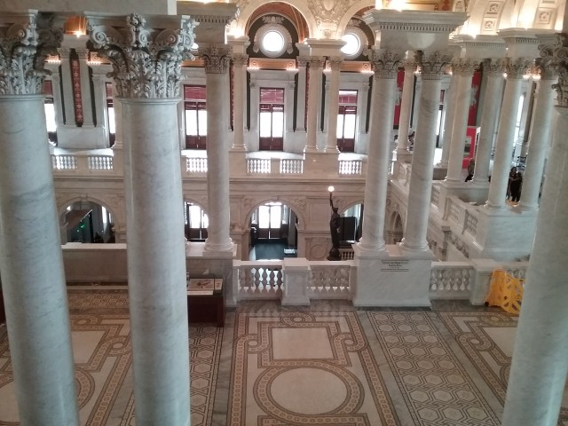 Looking down on the Great Hall, Library of Congress, Thomas Jefferson Building, Washington DC, 2019.