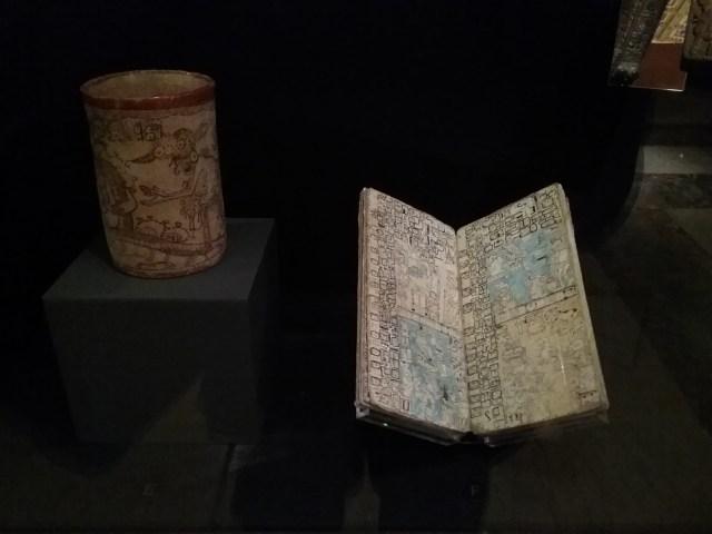 Maya codex and codex-style vase, Exploring the Early Americas exhibit, Library of Congress, Thomas Jefferson Building, Washington DC, 2019.