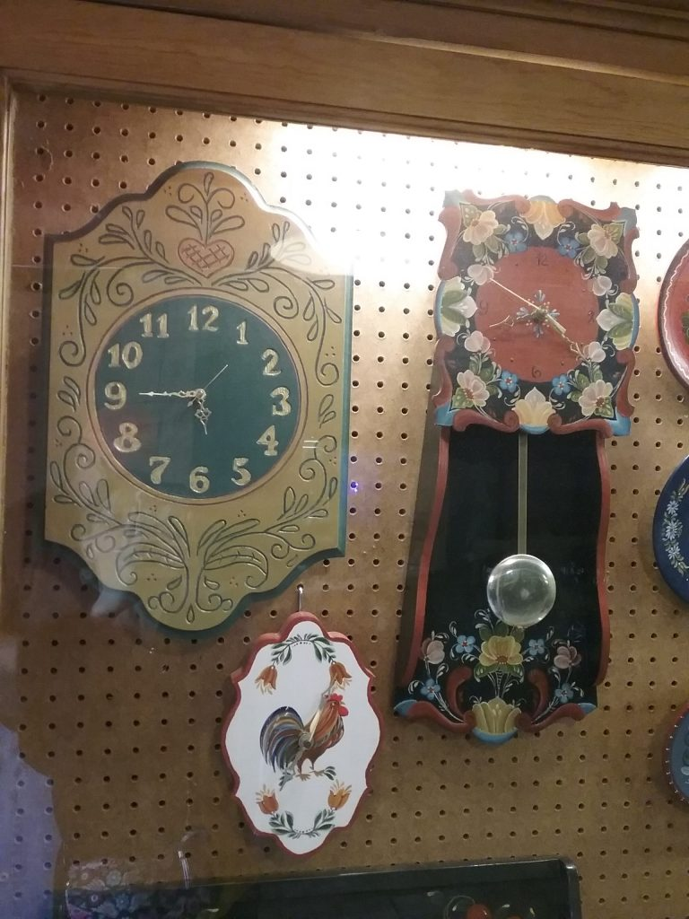 Pair of clocks with painted faces, 2019.
