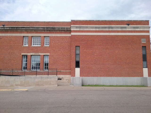 U. S. Post Office, east side with addition, Little Falls, MN, 2019.