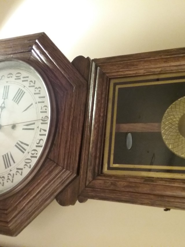 Clock on display at the Weyerhaeuser Museum, home of the Morrison County Historical Society, in Little Falls, MN, 2018.
