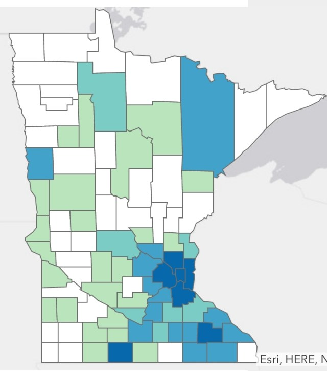 Minnesota Department of Health Situation Update for Coronavirus Disease 2019 (COVID-19), cases by county of residence, March 31, 2020.