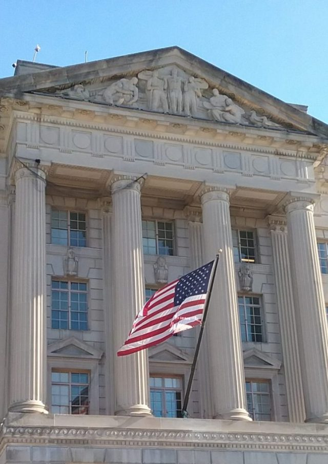 U.S. Flag in front of the Commerce Department, Washington D.C., January 22, 2019.