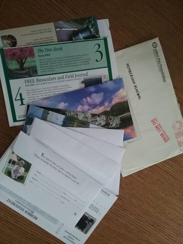 Arbor Day Foundation mailing, May 2020.