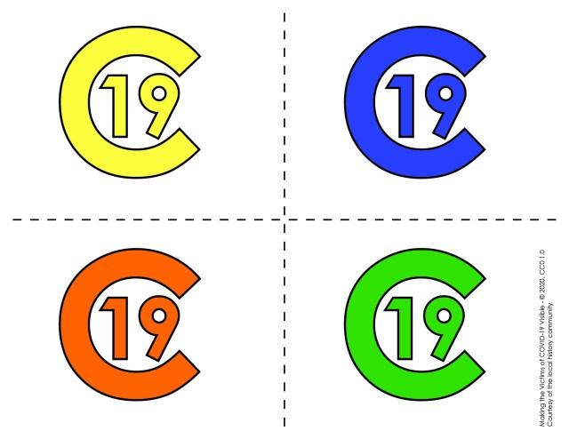 C-19 symbols, yellow, orange, blue, and green.
