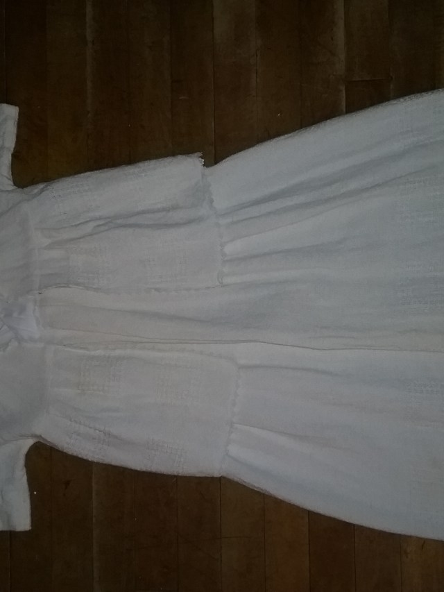 Eldest Son's long, white baptism gown and jacket, design and sewn by Stacy Warner with handwoven fabric by Mary Warner.