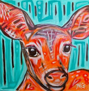 Hello Deer, 24 x 24, acrylic on canvas