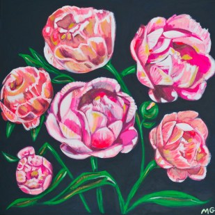Peonies, 36 x 36, acrylic on canvas