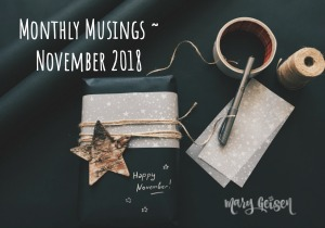 Monthly Musings ~ November 2018