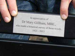 Plaque on the Mary Gillham memorial bench