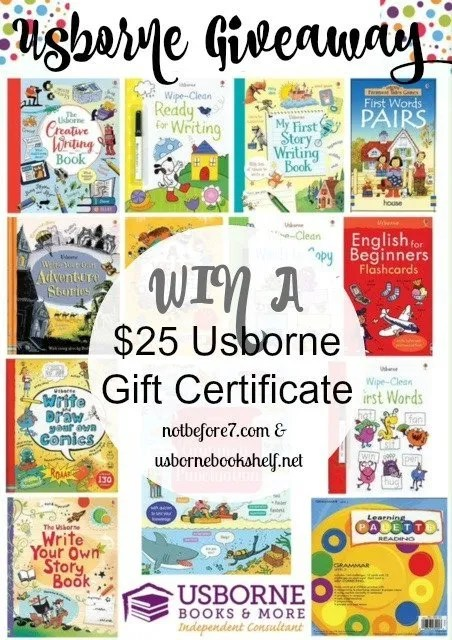 Win a $25 Usborne Gift Certificate. Contest ends 11/23/16.