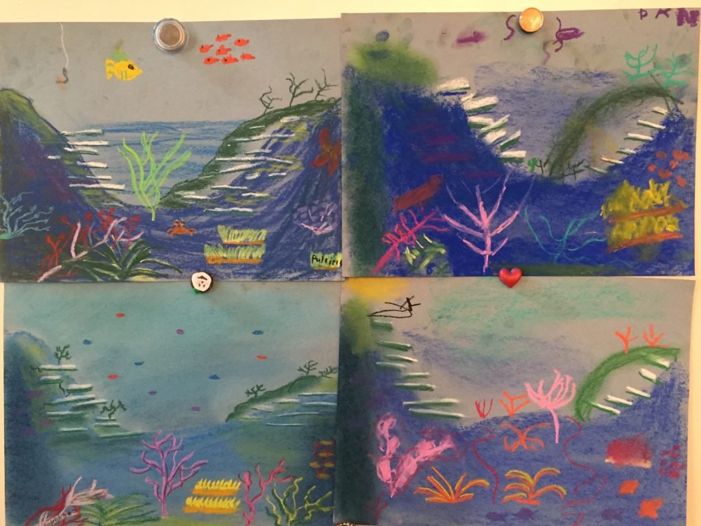 Our Seashore chalk Pastel Video Art Course creations.
