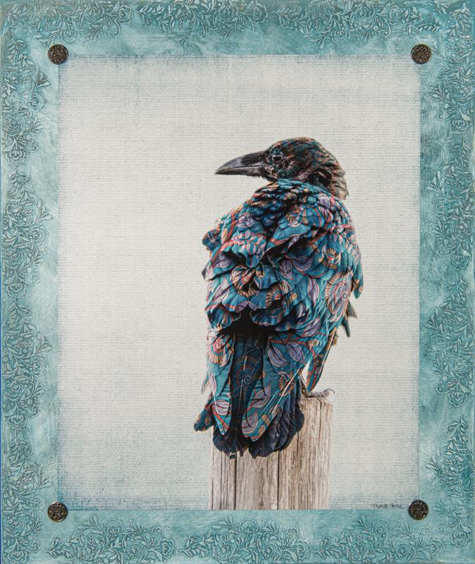 raven, mixed media, fine art
