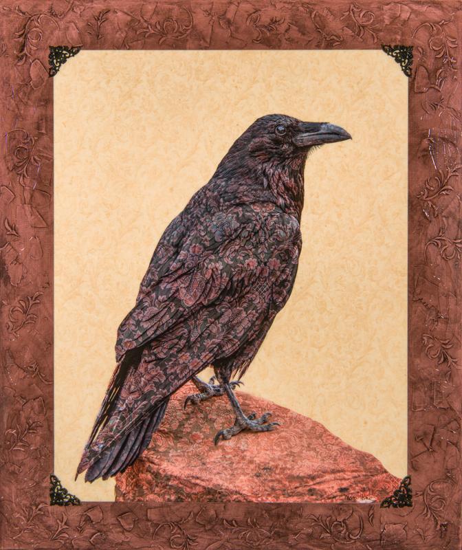 Mixed media, fine art, art, raven