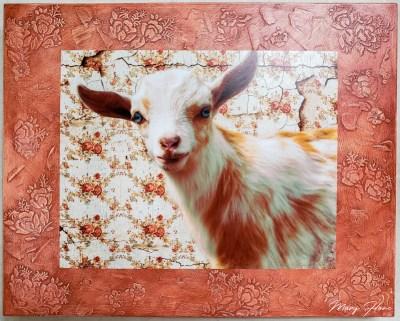 Custom pet portrait, one of a kind, mixed media