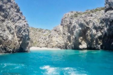 Kythera Kyriakoulou beach with Glass boat