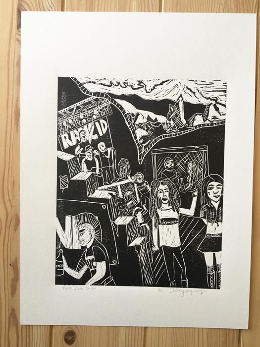 Punk Rock Show Linocut Print