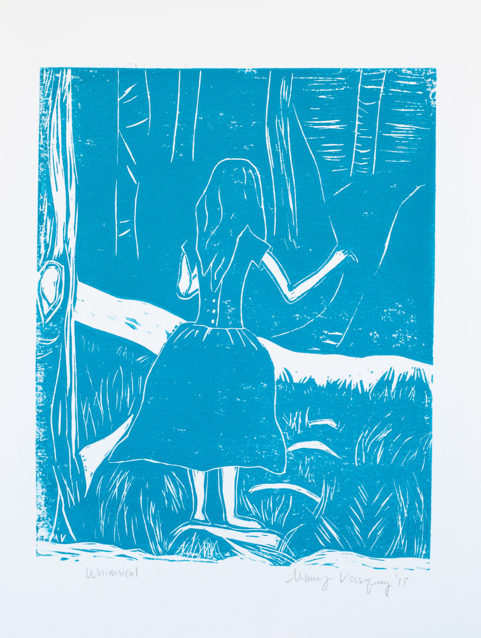 Whimsical in Turquoise Linocut Print