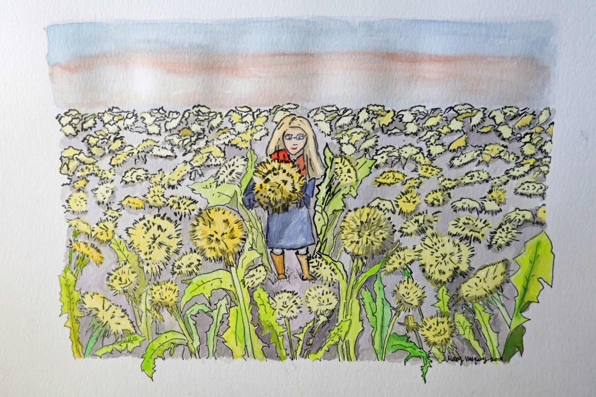 Watercolor Painting -Dandelion Field