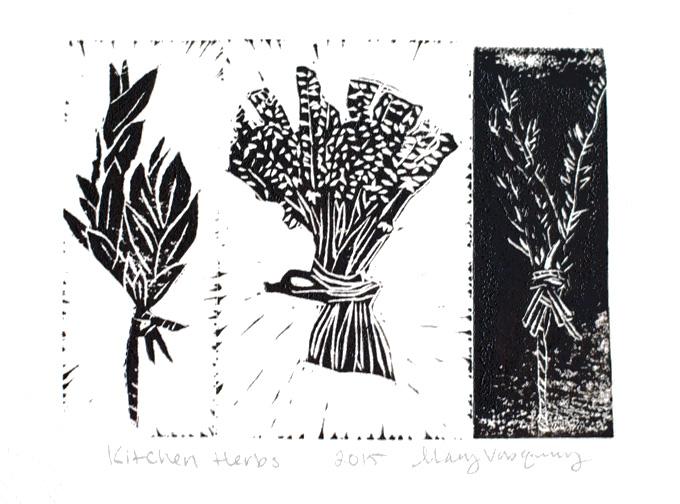 Kitchen Herbs Linocut Print